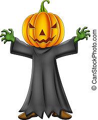 caricatura, abóbora halloween, traje, criança