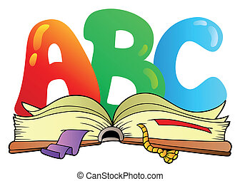 caricatura, abc, cartas, con, libro abierto