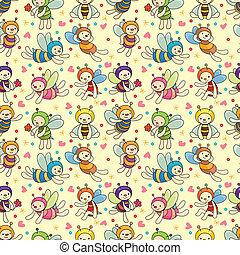 caricatura, abeja, niño, seamless, patrón