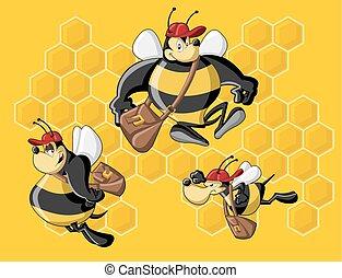 caricatura, abejas