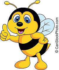caricatura, abelha, cima, polegar