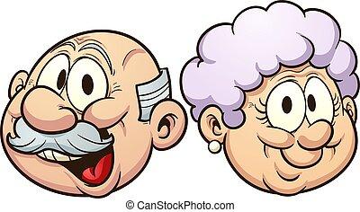 caricatura, abuelos