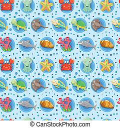 caricatura, acuario, animal, seamless, patrón