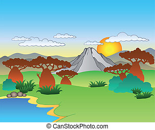 caricatura, africano, paisagem