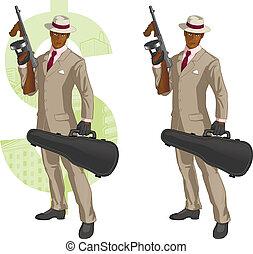 caricatura, afroamerican, mafioso, con, tommy-gun