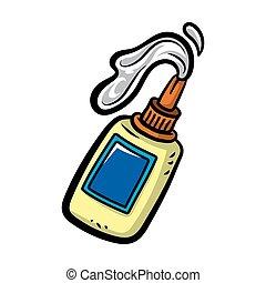 caricatura, afuera, el verter, pegamento, botella, estilo