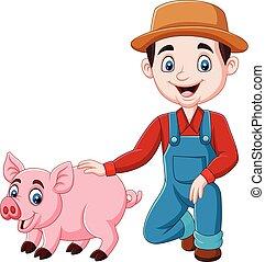 caricatura, agricultor, jovem, porca