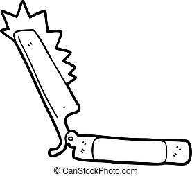 caricatura, agudo, maquinilla de afeitar