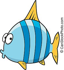 caricatura, aislado, azul, rayado, pez