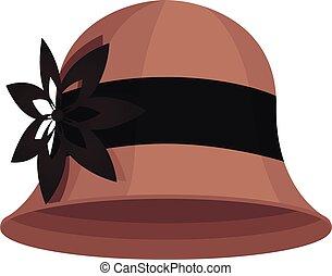 caricatura, aislado, sombrero, cloche, ilustración