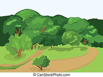 caricatura, aldea, camino, y, árboles verdes