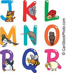caricatura, alfabeto, con, animales