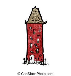 caricatura, alto, edificio viejo