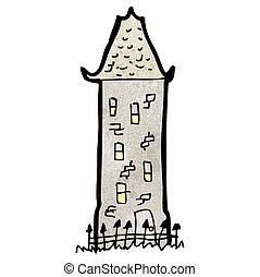 caricatura, alto, viejo, casa