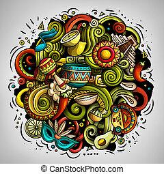 caricatura, américa, ilustración, doodles, latín