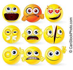caricatura, amarillo, smileys