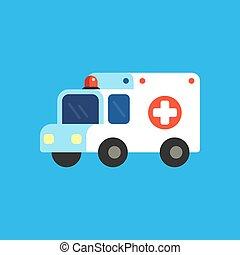 caricatura, ambulância, ilustração