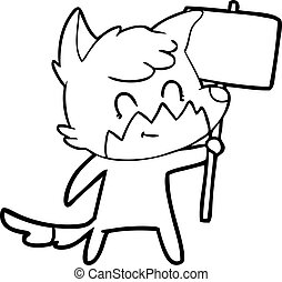 caricatura, amistoso, zorro, con, señal