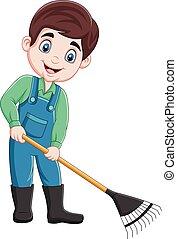 caricatura, ancinho, jovem, trabalhando, agricultor