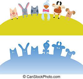 caricatura, animais, cartão, fazenda