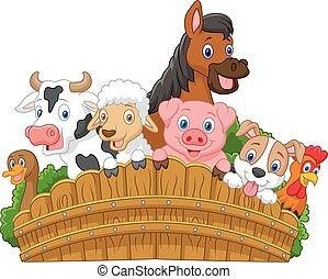 caricatura, animais, cobrança, fazenda