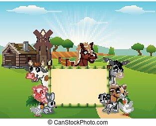 caricatura, animais, com, um, sinal branco