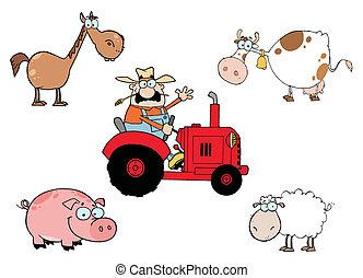 caricatura, animais, fazenda, caráteres