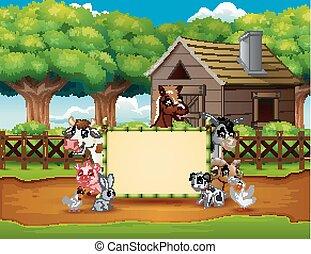 caricatura, animais, fazenda, com, um, sinal branco