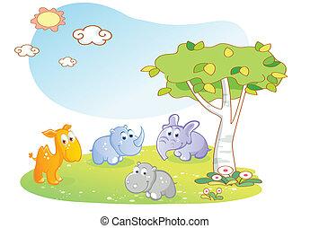 caricatura, animais, jovem, jardim
