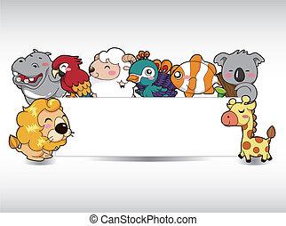 caricatura, animal, cartão