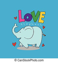 caricatura, animal, con, letras, amor, elephant.