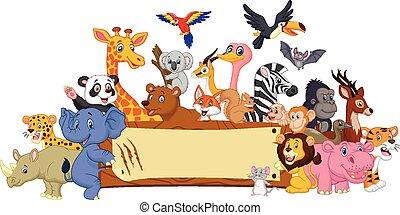 caricatura, animal, con, muestra en blanco