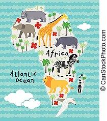 caricatura, animal, mapa