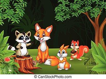 caricatura, animal selvagem, em, a, selva