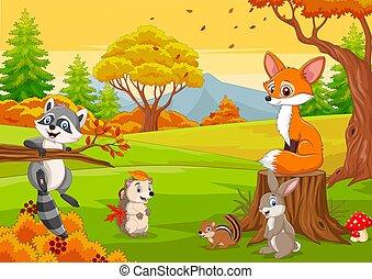 caricatura, animales, bosque de otoño, salvaje