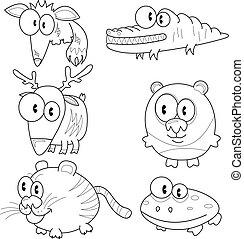 caricatura, animales