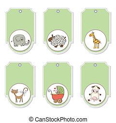 caricatura, animales, etiquetas, conjunto