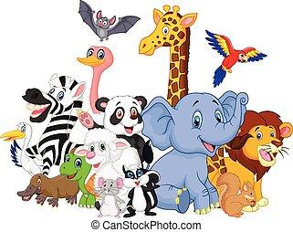 caricatura, animales, plano de fondo, salvaje