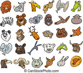caricatura, animales salvajes, cabezas, inmenso, conjunto
