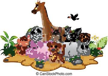 caricatura, animales salvajes, plano de fondo