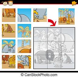 caricatura, animales salvajes, rompecabezas, juego