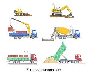 caricatura, apartamento, work., maquinaria, jobs., jogo, concept., equipamento, truks, vetorial, esboço, ilustração, construção, differend, diferente, operador, linear, caráteres