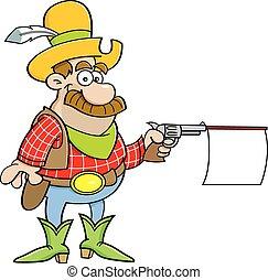 caricatura, arma de fuego de tiroteo, vaquero