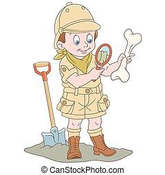 caricatura, arqueológico, explorador