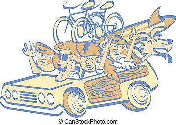 caricatura, arte, clip, vacaciones de familia