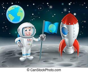 caricatura, astronauta, y, cohete, en, la luna