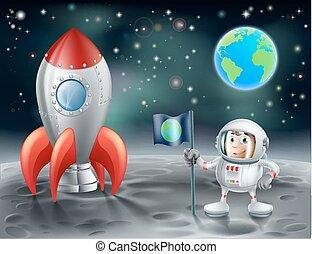 caricatura, astronauta, y, vendimia, espacie cohete, en, la luna