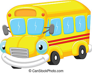 caricatura, autocarro, escola