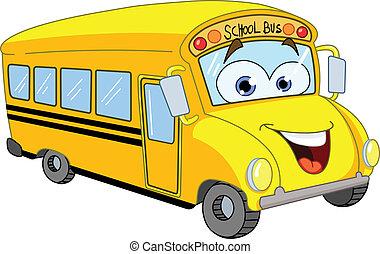 caricatura, autocarro escolar