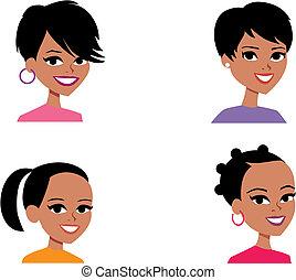 caricatura, avatar, ilustración del retrato, mujeres